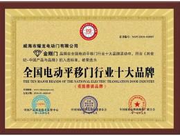 荣誉资质-全国电动平移门行业十大品牌